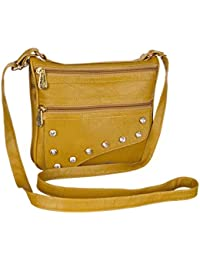 Leather Land Women Casual, Evening/Party Yellow Leatherette Sling Bag