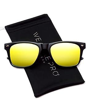 Polarizadas plano Espejo reflectante Revo lente de color Tamaño Grande con borde de cuerno estilo gafas de sol