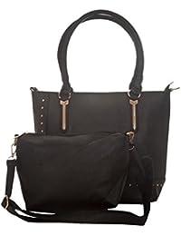 Aliado Faux Leather Solid Black Zipper Closure Handbag For Women
