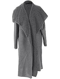 New Ladies Women Italian Lagenlook Waterfall 2 Front Pocket Wool Cocoon Cardigan Jacket Coat Coatigan Curve Plus Sizes