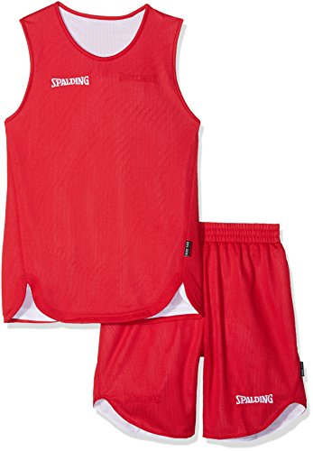 Spalding DOUBLE FACE KIT REVERSIBLE JUNIOR - Kit Maillot et Short de Basket Junior - Kit reversible Junior - Confort maximal - rouge/blanc - M
