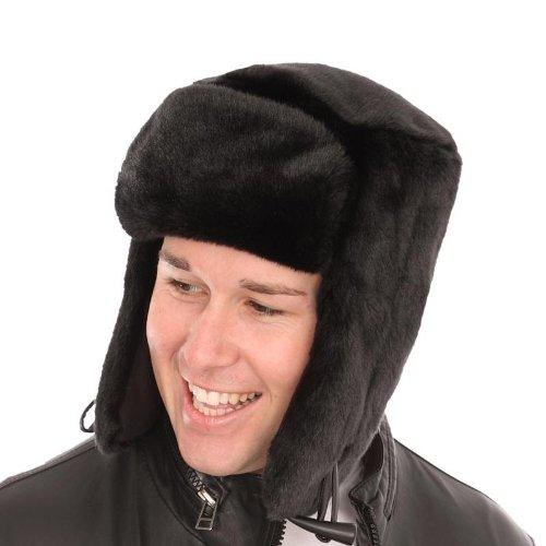 Mens Tracker Trapper Air Russian Aviator Army Fake Fur Ear Flap Cossack