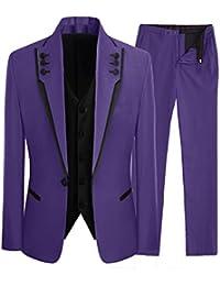 Lilis Men s Fashion Grey 3 Pièces Costumes de Mariage Costumes de Mariage  Un Bouton de Mariage 8217336b035