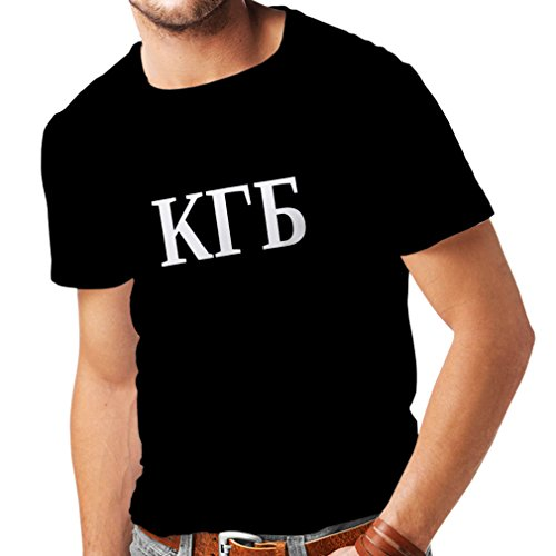 lepni.me Männer T-Shirt Politisch - KGB, UDSSR - CCCP, Russisch, Русский (Large Schwarz Weiß)