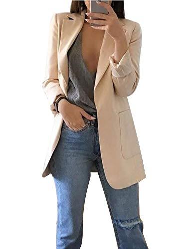 ORANDESIGNE Damen Cardigan Elegant Blazer Langärmliger Anzugjacke Einfarbig Blazer Business Slim Fit Bolero Jacke Anzug Trenchcoat A Aprikose DE 36
