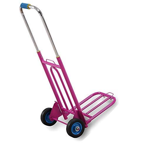 OaLt-t Carro y Carro Plegable multifunción, Carro de Equipaje con Carrito Auxiliar 2 Ruedas Negro, Rosa, Azul (Color : Pink)