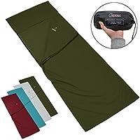 ALPIDEX Policotone Sacco Lenzuolo POCKET PETER sacco letto Campeggio Viaggio Comodo Liner per sacco a pelo , Colore:Green Forest