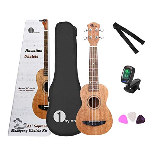 1 BY ONE Ukulele Soprano 21 pollici in Mogano con Accordatore Digitale, 3 Plettri, Tracolla e Custodia Nera