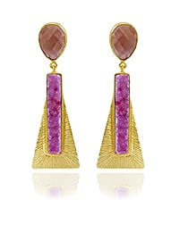 The Bohemian LDE 753 - 240 Pink Aztec Egyptian Alloy Gold Plated Dangle & Drop Earring For Women