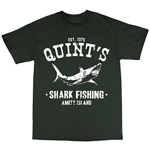 Quint's Shark Fishing T-Shirt Uomo Verde Foresta GREEN