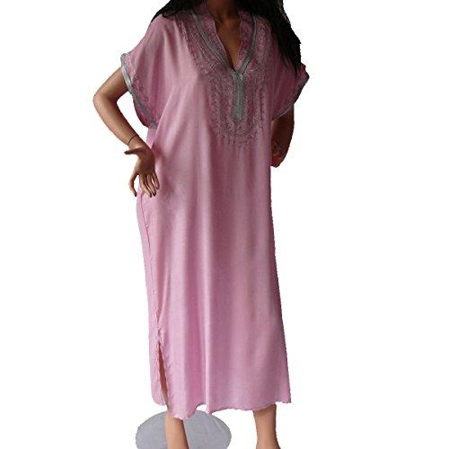 Marrakech Accessoires Orientalisches Kleid Kaftan Tunikakleid Strandkleid Sommerkleid Maxi, rosa-Silber, Grösse:L