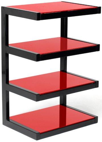 NorStone Esse Hifi Meuble Hifi élégant et original 4 tablettes Finition Noir Laqué et Verre trempé Rouge