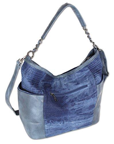 Damen Handtasche Schultertasche Umhängetasche Stofftasche Shopper Groß Jeans Denim 4533 Dunkelblau