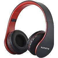 Sunvito Auriculares Bluetooth 4.0 de Diadema Plegable,4 en 1 Estéreo Bass Inalámbrico Auriculares con Reproductor MP3,FM Radio,Auriculares con Cable,Mic Arriba-Oreja para iPhone PC Andriod Rojo