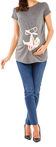 Happy Mama. Femme chemise T-shirt tee top grossesse imprimé bébé écharpe. 513p Gris Chiné