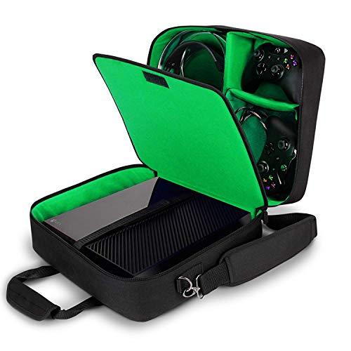 USA Gear Tragetasche für Gaming Konsolen - Schutz Konsolentasche mit Schultergurt und Unterteilbaren Fächer für Zubehör und Games - Kompatibel mit Xbox One X, Xbox One S und Weiteren Konsolen - Grün (Xbox Tragetasche)