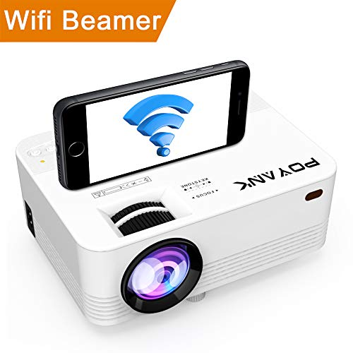 WiFi Beamer, POYANK Wireless Projektor Unterstützt 1080P Full HD, 3600 Lumen Videoprojektor Unterstützt Airplay Miracast DLNA Funktion, kompatibel mit TV Stick PC Smartphone Spielekonsole, Weiß.