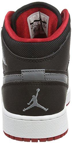 Nike Jordan 1 (BG) Jungen Basketballschuhe Schwarz (Black/Cool Grey-Gym Red 034)
