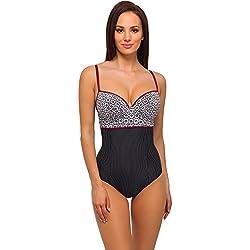 ceb355381ee8 Feba Modellante Corpo Push Up Costume da Bagno per Donna SC1RL2T (Nero/Écru,