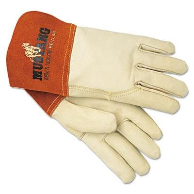 Memphis Gloves 4950L Mustang MIG/TIG Leather Welding Gloves, White/Russet, Large, 12 Pairs by Memphis Memphis Mustang