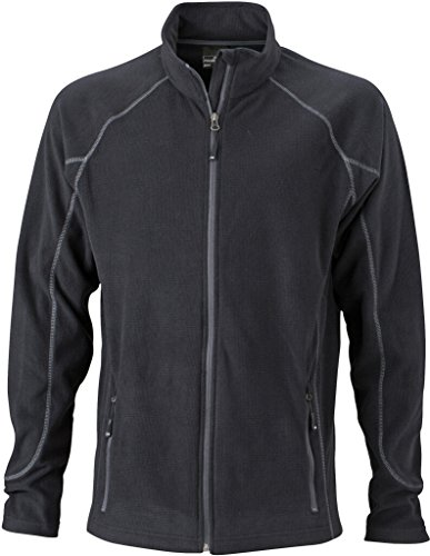 JAMES & NICHOLSON Leichte Outdoor-Fleecejacke Black/Carbon