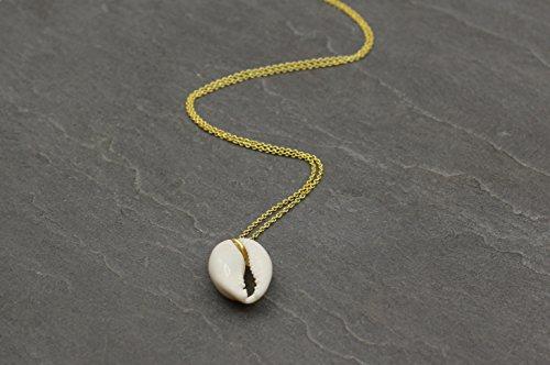 Damen Halskette Kette Anhänger Kaurischnecke Kauri Muschel in Gold Silber Boho Handmade Schmuck (Kauri-muschel-schmuck)