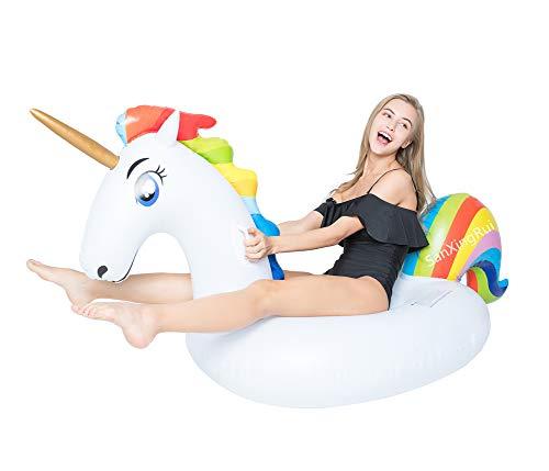 SanXingRui Unicorno Gonfiabile, Gonfiabile Unicorno Piscina Galleggiante Adatto per Bambini e Adulti Giocattolo in Mare Unicorno Gonfiabile (Bianco-A)