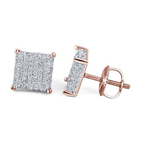 lilu Jewels Blanc Naturel Diamant Boucles d'oreilles clous en argent sterling 925arrière à vis carrée pour femme 14k Rose Gold Plated