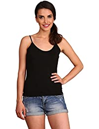 Jockey Women's Cotton Spaghetti Top (1487_Black_M)