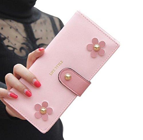 Malloom Titolare Donna borsa portafoglio Lungo Frizione Borsa PU Borse (rosa) rosa