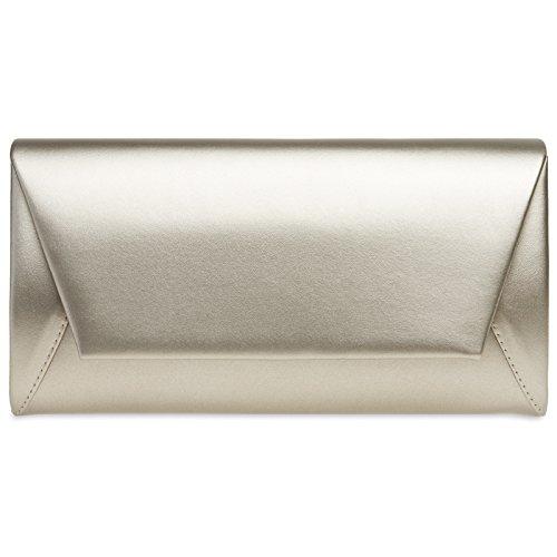 CASPAR TA410 Damen Metallic Envelope Baguette Clutch Tasche Abendtasche, Farbe:champagner;Größe:One Size