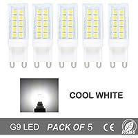 Bombillas LED G9 5W = 40W Halógena,Blanco Frío 6000K,Haz 360°,Pack de 5