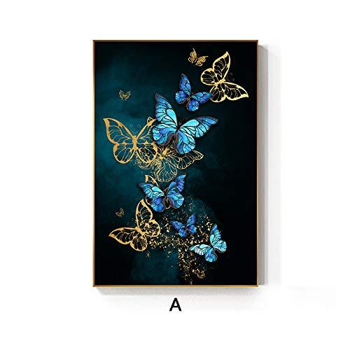 zgmtj Abstrakte Goldene Flügel Schmetterling Malerei Tableaus Big Poster Print Wandkunst Bilder für Wohnzimmer Cuadros Poster