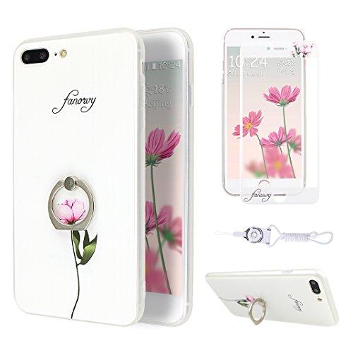 Etui iPhone 7 Plus TPU, Coque iPhone 7 Plus Case, Moon mood® 3D en Relief Peint Coque de Téléphone avec Anneau Support Protecteur d'écran TPU Étui Arrière Housse pour iPhone 7 Plus 5.5 pouce Téléphone Style-1
