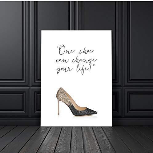 cptbtptp Moda Donna Tacchi Alti Poster Rossetto Scarpe da Pittura su Tela Stampate Quadri da Parete per Soggiorno Decorazione Domestica 50x70cm