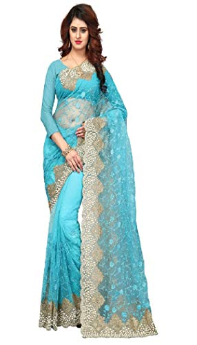 I-Brand Women\'s Naylon Mono Net & Banlori Silk Saree With Blouse Piece (Sky Blue_FREESIZE)