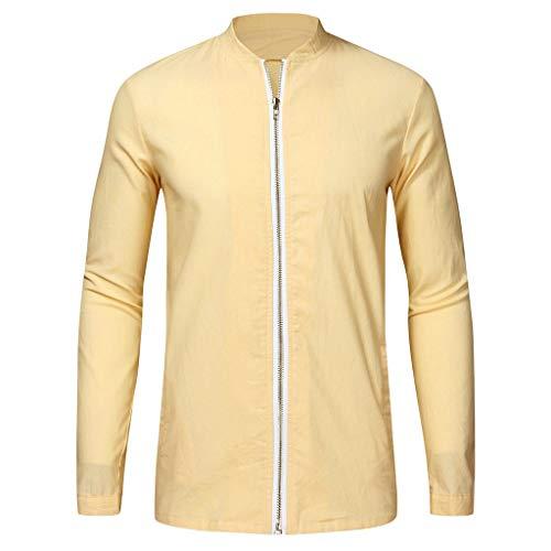 Herren Einfarbig Casual Slim Jacke, Herbst Winter Baumwollmischung Reißverschluss Langarm Mantel Top Bluse Outwear
