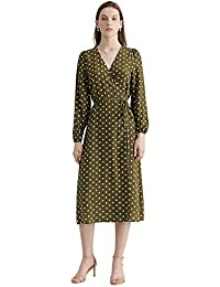 dfbdcfe9735b LILYSILK Wrap Silk Dress for Womens and Ladies Polka Dot Maxi Long Sleeve  Vintage V Neck