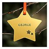 Personalisierter kundenspezifischer Goldweihnachtsbaum-Stern-Flitter - Personalised Custom Gold Christmas Tree Star Bauble .o.