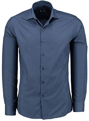 TMK Herren Hemd - Slim - Fit - Langarm - Premium Bügelleicht Hemden für Business, Freizeit, Hochzeit, Party für Männer - Navy XL