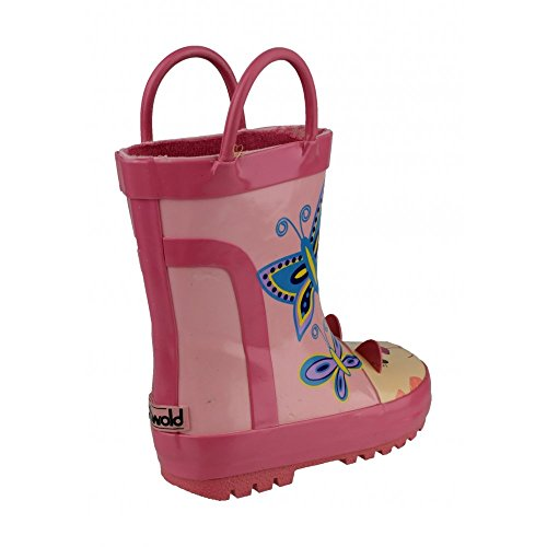Cotswold Boys Digger Puddle Boot Grey Digger Pull On Wellington Boot Pink