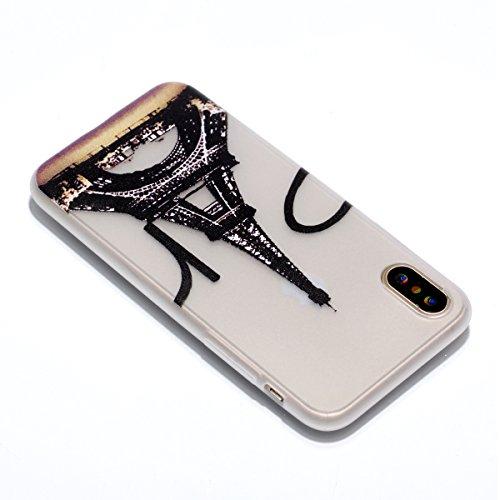 Für iphone X,Sunrive Schutzhülle Etui mit Nachtleuchtende Funktion Hülle TPU Silikon Rückschale Silicon Cover Tasche Case Bumper Abdeckung Handyhülle(Love Heart )+Gratis Universal Eingabestift der Turm