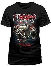 """Camiseta, diseño de pirañas con palabra """"Exodus"""""""