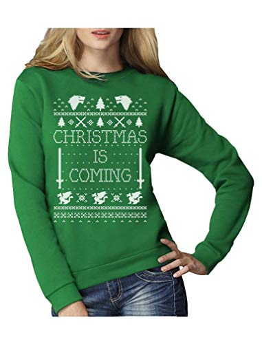 Christmas is Coming - Weihnachtspullover Damen für GOT Fans Frauen Sweatshirt Large ()