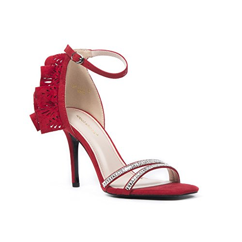 Ideal Shoes Sandales Effet Daim avec Lanières Incrustées de Strass et Volants Beth Rouge