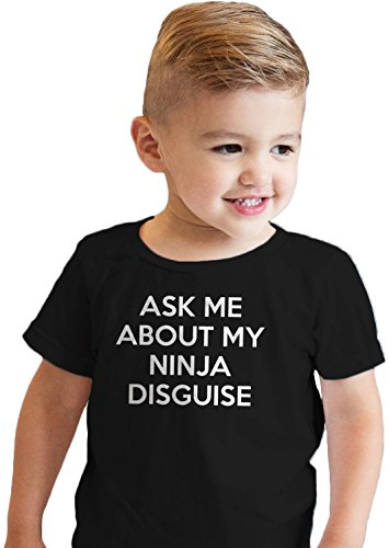 Crazy Dog Tshirts - Toddler Ask Me About My Ninja Disguise T Shirt Cool Karate Face Mask Flip Tee (Black) - 2T - Baby-Enfant