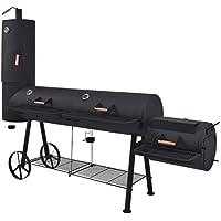 Festnight- Barbacoa Ahumador Fuerte de Carbón Negro 258 x 66 x 196 cm Incluye 4 Parrillas para Ahumar y 2 Termómetros