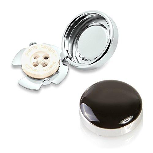 Schwarze Knopfclips - Die Alternative für Manschettenknöpfe für gewöhnliche Hemden (Klein - 15mm) (Navy Anzug-jacke Blauen)