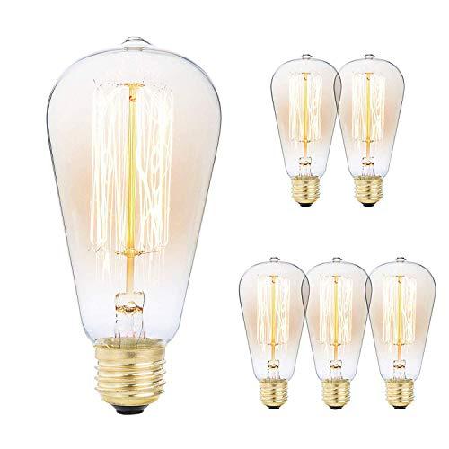 Mooedcoe Edison Vintage Glühbirne, E27 40 W dimmbares Dekorative Glühlampe ST64 für Tischlampen, Stehlampen, Wandlampen, Kronleuchter usw, 6 Stück (Wolframlampe, Amber Warm) - Amber Glühlampe Kronleuchter