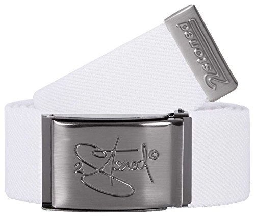 2Stoned Stretch-Gürtel elastisch Classic Matt gestanzt, Weiß, One Size, 120cm - 140cm Dehnbar, für Damen und Herren (Stretch-gürtel Weiße)